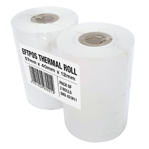 Wsl Cash Register Roll 57 x 40mm Thermal Twin Pack White
