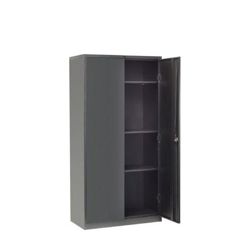 Workspace Cupboard Large Metal 4 Shelves Black