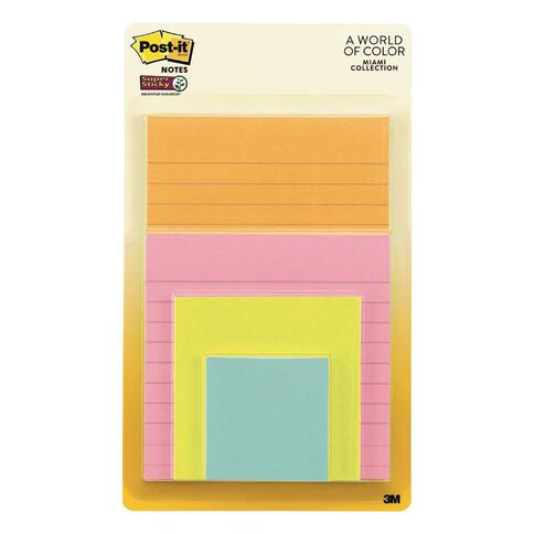 Post-It Super Sticky Notes Miami Collection 4 Pack Assorted
