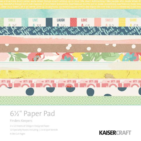 Kaisercraft Paper Pad 6.5X6.5 Finders Keepers Multi-Coloured