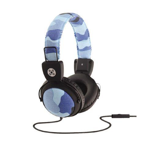 Moki Camo In-Line Mic Headphones Blue