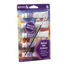 Reeves Oil Paint & Brush Set 5 Pack