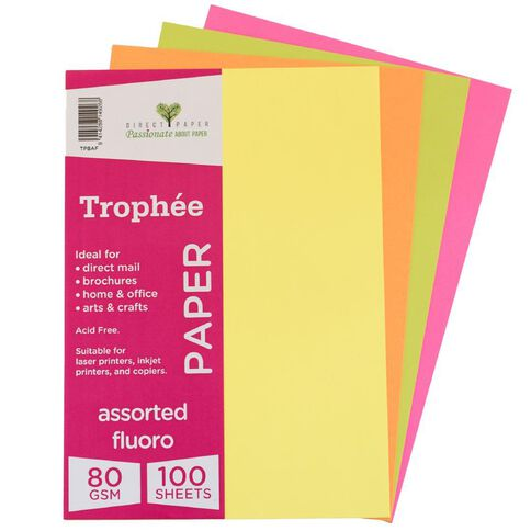 Trophee Paper 80gsm 100 Pack Fluoro Assorted A4