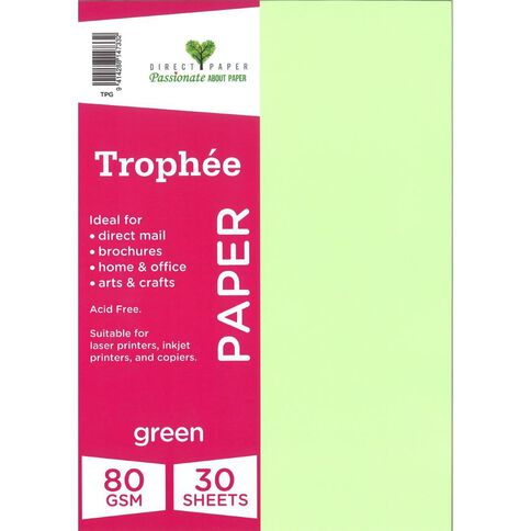 Trophee Paper 80gsm 30 Pack Green A4