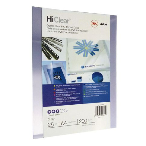 Ibico Binding Cover Gbc Transparent 200 Micron 25 Pack Clear