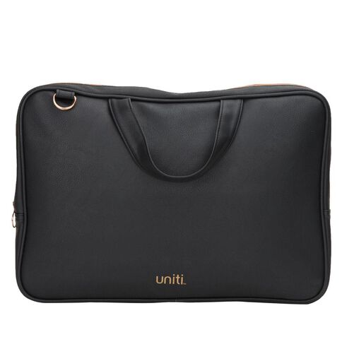 Uniti Rose Gold Faux Leather Laptop Bag Black