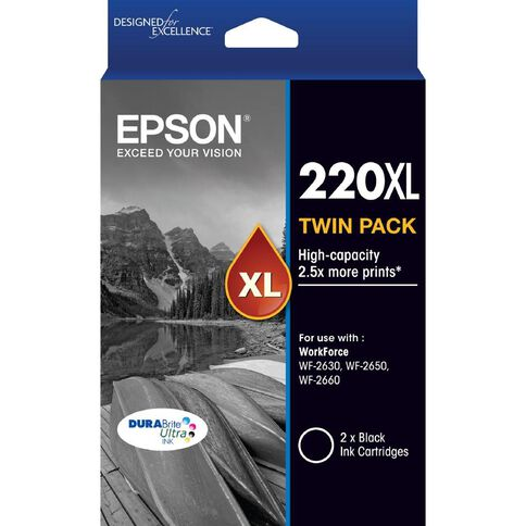 Epson Ink Cartridge 220XL 2 Pack Black