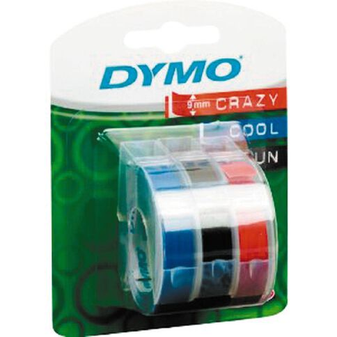 Dymo Embosser 9mm x 3m 3 Pack Assorted