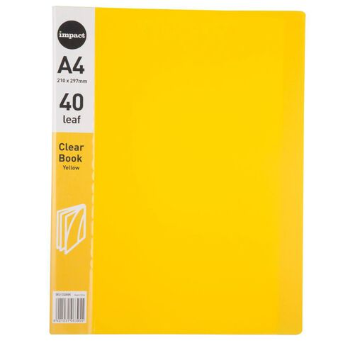 Impact Clear Book 40 Leaf Yellow A4