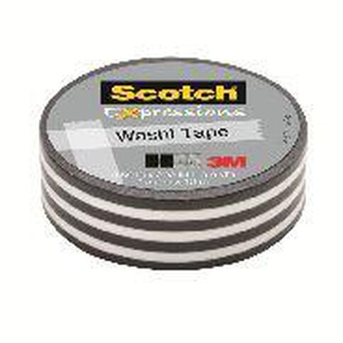 Scotch Washi Craft Tape 15mm x 10m Stripes Black