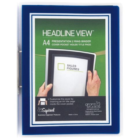 Headline View Ringbinder Overlay Slim 2 Ring Blue A4