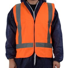 Orange Hi-Viz Day Night Safety Vest Front Zip Size Orange Large
