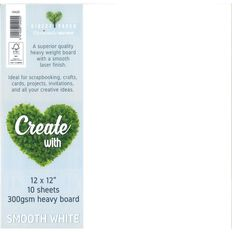 Create With Cardstock 300gsm 12 x 12 Smooth 10 pack White