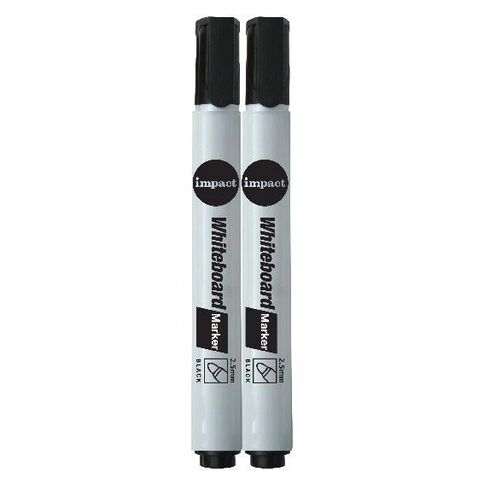 Impact Whiteboard Markers Bullet 2 Pack Black