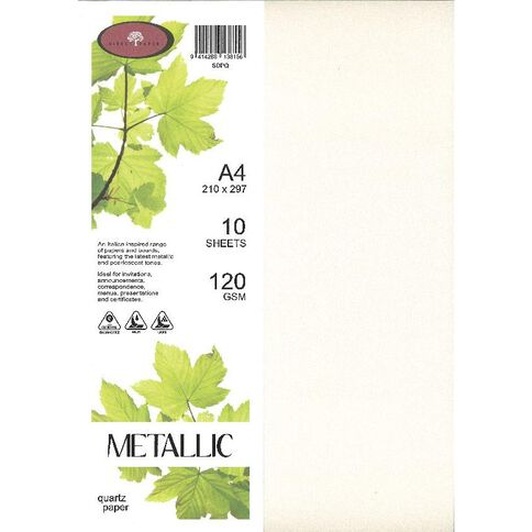 Metallic Paper 120gsm 10 Pack Quartz Multi-Coloured A4
