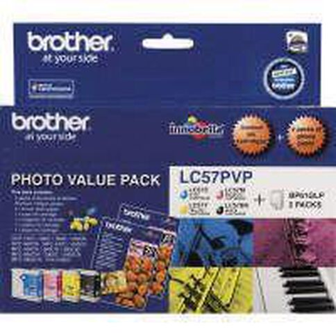 Brother Ink Cartridge LC57 Photo Value 4 Pack Multi-Coloured