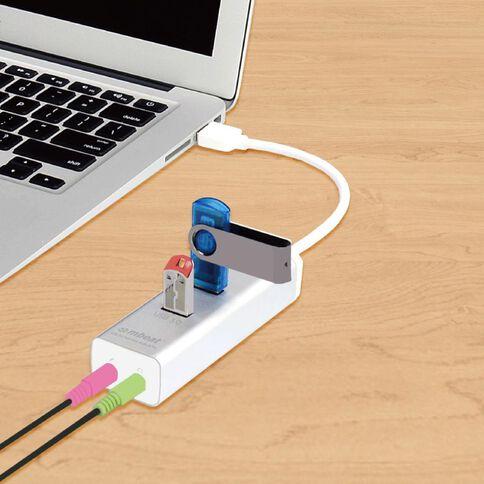 mbeat Hayman 3 Port USB 3.0 Hub With Audio & Mic Silver