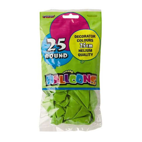 Meteor Balloons Round Lime Green 25cm 25 Pack Green