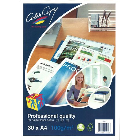 Color Copy Digital Laser 100gsm 30 Pack White A4