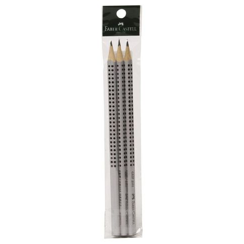 Faber-Castell Pencil Grip Hb 3 Pack Black