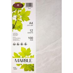 Marble Paper 100gsm 12 Pack White A4
