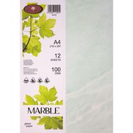 Marble Paper 100gsm 12 Pack Green A4