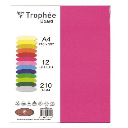Trophee Board 210gsm 12 Pack Intensive Pink A4
