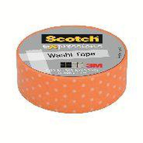 Scotch Washi Craft Tape 15mm x 10m Swiss Dot Orange