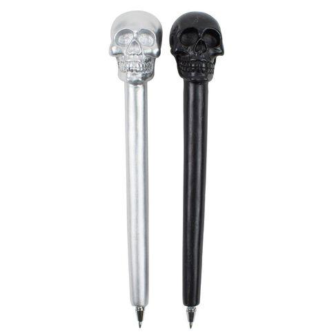 Novelty Pen Skulls Blk/Silv Assorted