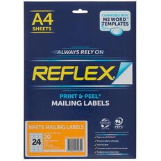 Reflex Mailing Labels 24 Per Sheet 20 Pack A4