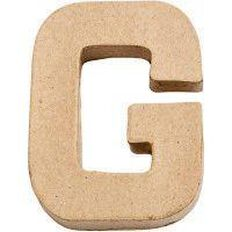Paper Mache Alphabet Small Symbol G 10cm Brown