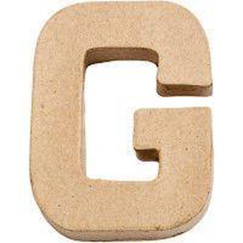 Paper Mache Alphabet Small Symbol G 10cm Brown