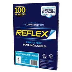Reflex Mailing Labels 4 Per Sheet 100 Pack White A4