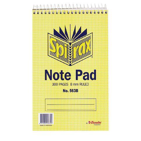 Spirax Notebook Spiral No.563B 300pg 8mm Ruled 200 x 127mm Yellow