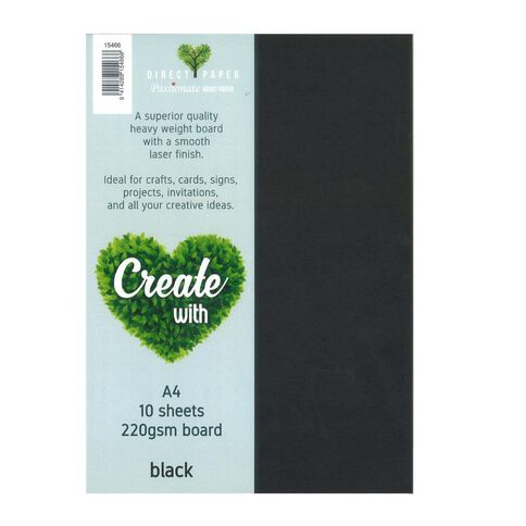 Create With Cardstock 220gsm Smooth 10 Pack Black A4