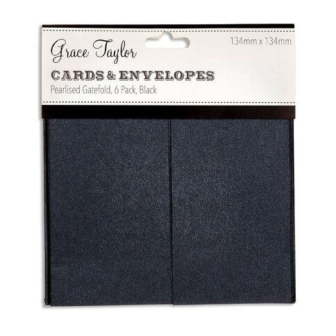 Grants GT Cards & Envelope Gatefold 134 x 134 6 Pack Charcoal