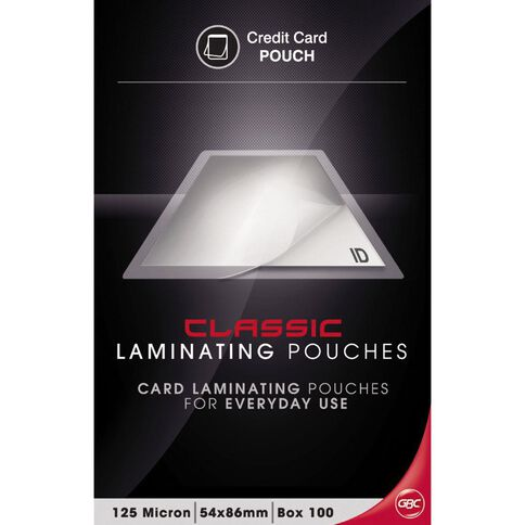 GBC Lamintaing Pouch 54 x 86 125 Micron Credit Card 100 Pack Clear