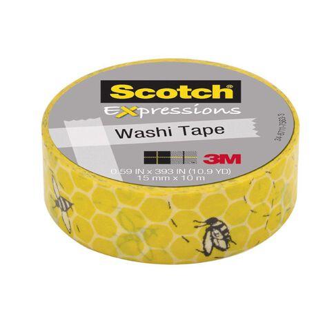 Scotch Washi Craft Tape 15mm x 10m Honeycomb Yellow