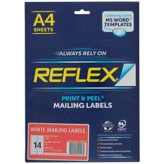 Reflex Mailing Labels 14 Per Sheet 20 Pack White A4