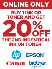Buy 1 of Ink & get 20% off the 2nd identical Ink or Toner