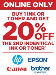 Buy 1 of Ink & get 20% off the 2nd identical Ink or Toner