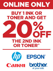 Buy 1 of Ink & get 20% off the 2nd Ink or Toner