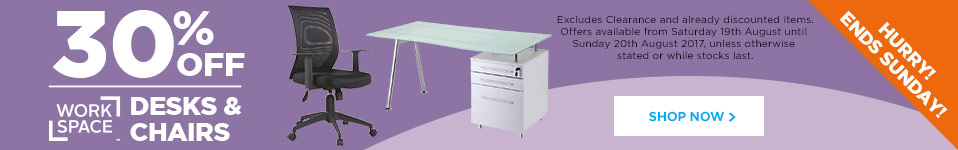 30% off Workplace Desks & Chairs