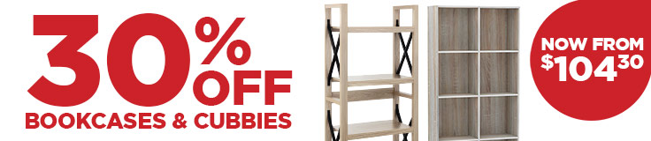 30% Off Bookcases & Cubbies