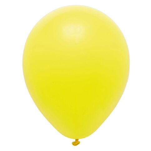 Party Inc Balloons Solid Colour Yellow 25cm 25 Pack
