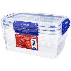 Sistema Klip It Plus Rectangular Container 3 Pack Assorted 2.2L