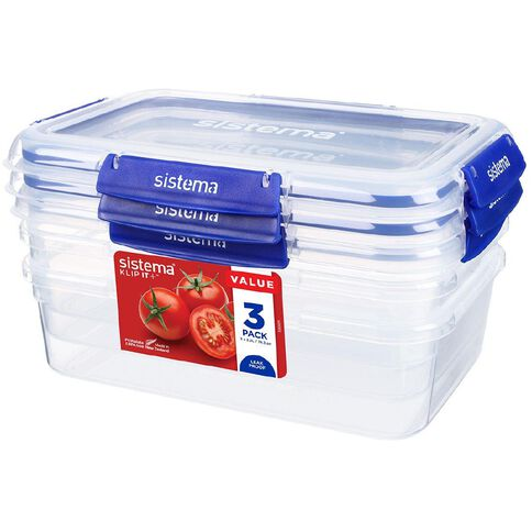 Sistema Klip It Plus Rectangular Container 3 Pack Assorted 2.2L