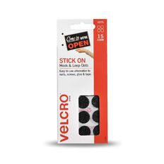 VELCRO Brand Hook & Loop Stick On Mini Dots 15 Set Black