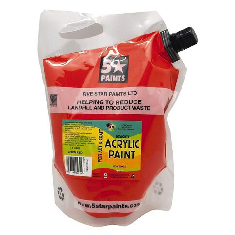 Fivestar Acrylic Paint Warm Red 1.5 litre Pouch