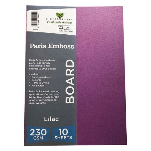 Direct Paper Paris Emboss 230gsm A4 10 Pack Lilac